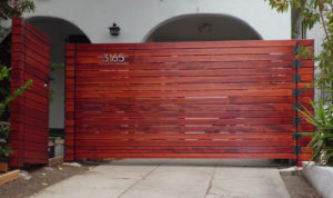 10' Wide Single Swinger Horizontal Wood Driveway Gate + Matching Pedestrian Gate, Los Angeles 90039, built by WoodFenceExpert.com