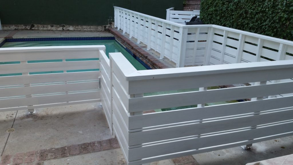 Custom Horizontal Wood Fence + Gates Pool Enclosure, Beverly Hills 90210, built by WoodFenceExpert.com