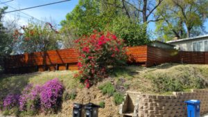Custom Horizontal Wood Fence atop Horizontal Wood Mini-Retaining Wall + Gate, Los Angeles 90065, built by WoodFenceExpert.com