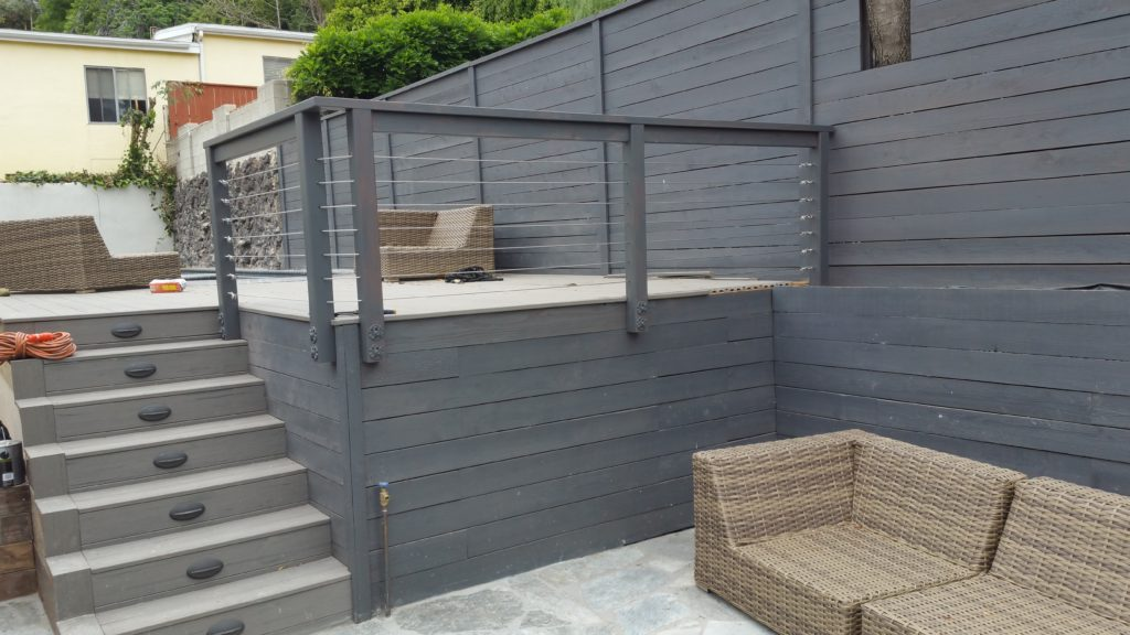 Custom Wood Framed Stainless Steel Cable Railing, Los Angeles 90046, built by WoodFenceExpert.com