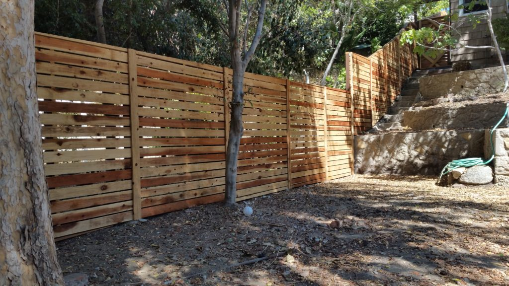 Custom Horizontal Wood Fence + Gates, Los Angeles 90043, built by WoodFenceExpert.com