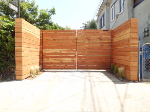 Custom Horizontal Wood Driveway Gate, Los Angeles 90026, built by WoodFenceExpert.com