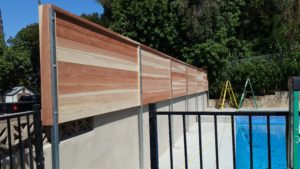Custom Horizontal Floating Wood Privacy Fence Los Angeles 90027 built by WoodFenceExpert.com
