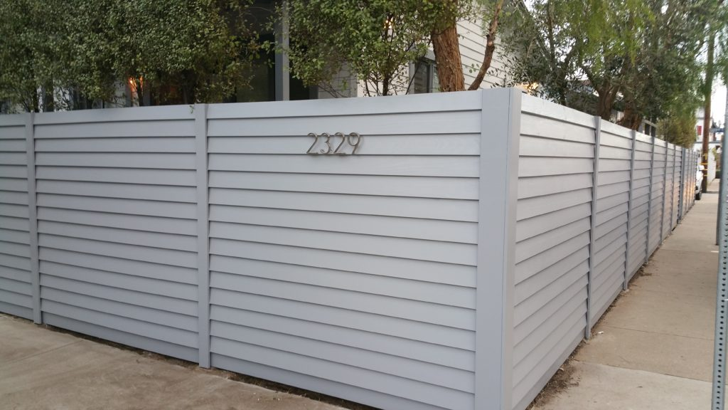 Custom Horizontal Wood Fence + Complimentary Utility Enclosure + Pedestrian Gates, Venice, Los Angeles 90291, built by WoodFenceExpert.com