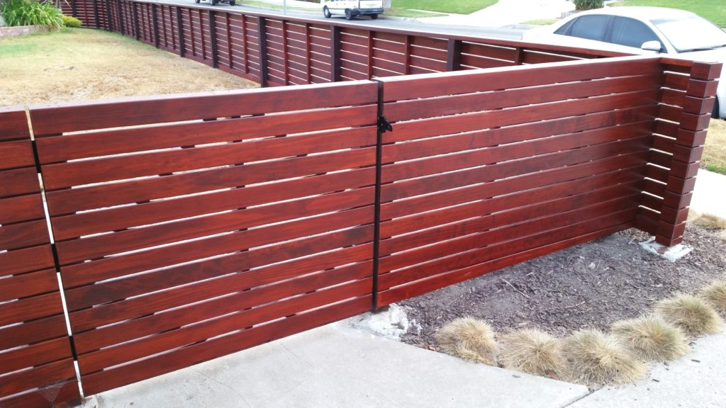 Front Yard Horizontal Fence + Gate in Los Angeles, 90056, built by WoodFenceExpert.com